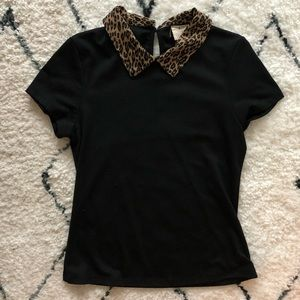 URBAN OUTFITTERS  Leopard Print Collared Top